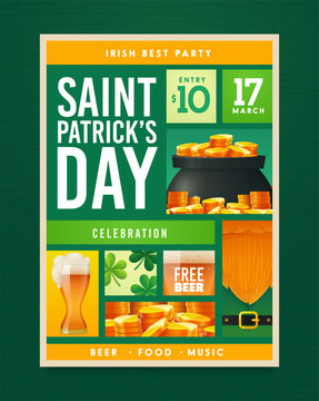 Saint Patrick's Day party poster design. Nightclub invitation. Patricks Day flyer, brochure, holiday invitation, corporate celebration Vector illustration