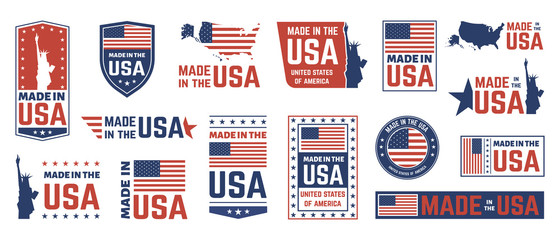 Fototapeta Made in USA label. American flag emblem, patriot proud nation labels icon and united states label stamps vector isolated symbols set. US product stickers, national independence day 4th july badges obraz
