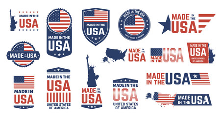 Made in USA badges. Patriot proud label stamp, American flag and national symbols, United States of America patriotic emblems vector set. US product stickers, national independence day 4th july badges Fotomurales