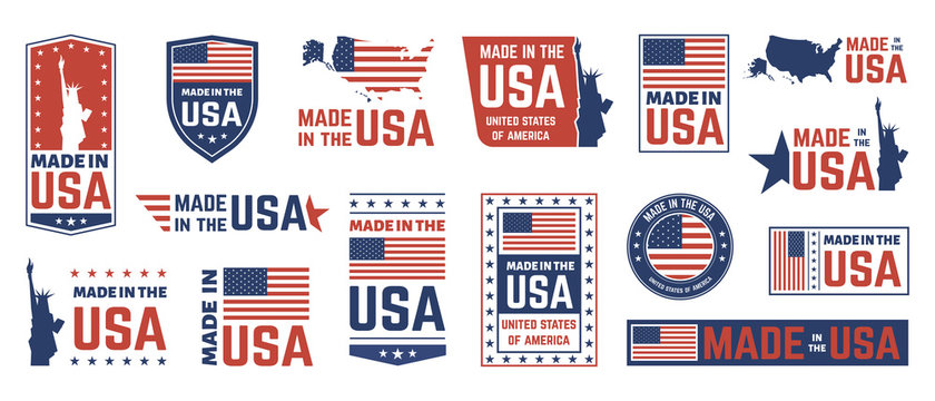 Made in USA label. American flag emblem, patriot proud nation labels icon and united states label stamps vector isolated symbols set. US product stickers, national independence day 4th july badges
