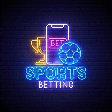 Sports betting neon sign, bright signboard, light banner. Sports betting logo neon, emblem. Vector illustration
