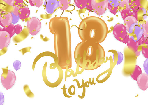 18th Birthday celebration with  balloons and colorful confetti