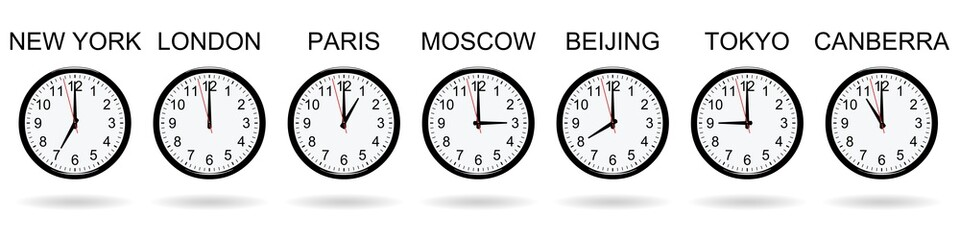 Clocks at different times on white background