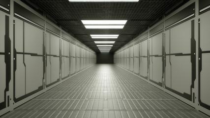 Fototapeta 3d render. Futuristic spaceship scifi corridor architecture