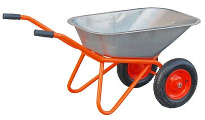 Garden wheelbarrow cart isolated on white