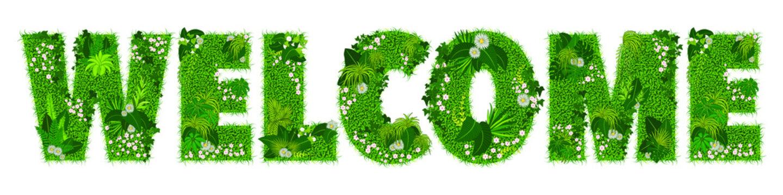 Mot «WELCOME» composé de lettres florales - illustration vectorielle d'un gazon fleuri.