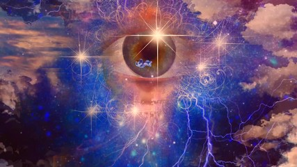 Wall Mural - Surreal art in vivid colors. Eye of God and Astronaut