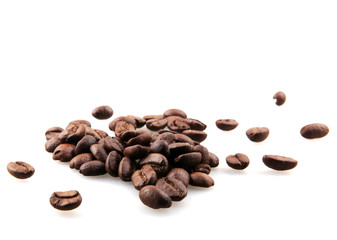 Wall Mural - Fresh Roasted Coffee Beans Isolated On White Background