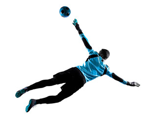 soccer player goalkeeper man silhouette shadow isolated white background