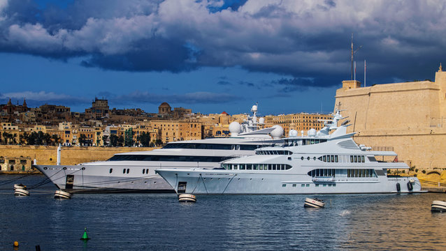 Large Yachts in the Harbor in Malta