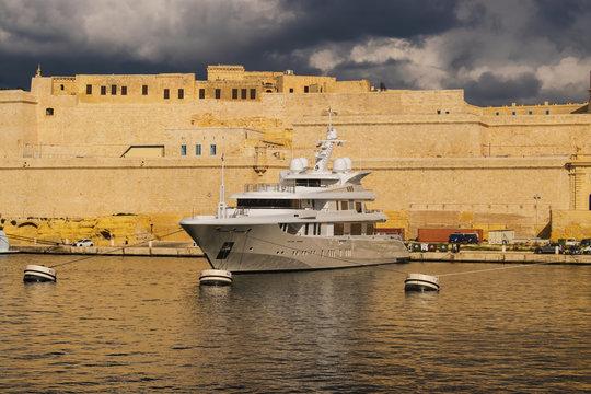 Boat docked in the port in Malta