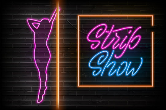 Advertising poster neon design Strip Show. Party Invitation Booklet. Neon sign. Vector illustration