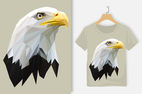 Bald Eagle Head in Lowpoly Style Tshirt Design