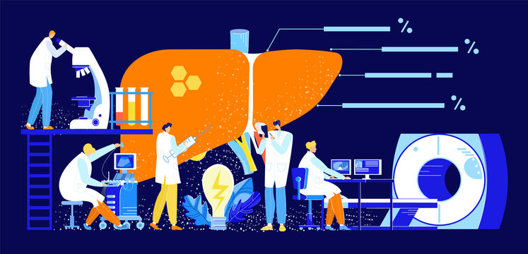 Vector flat abstract illustration with set doctors who study enlarged liver using ultrasound, MRI, puncture, laboratory tests. In the center. Lamp is lit as symbol of idea. In banners, web design, etc