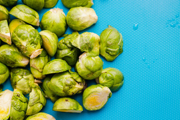 Foto op Canvas Brussel close up of Brussel sprouts in kitchen at lunch time