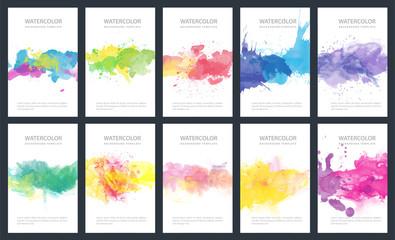 Fotobehang - Bundle set of bright colorful vector watercolor backgrounds for poster, brochure or flyer