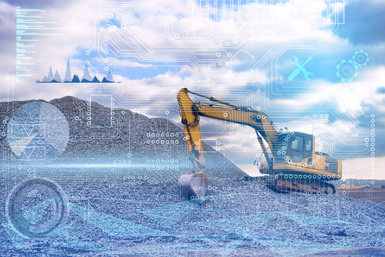 conceptual representation of the industry of the future, construction using technology without the use of man, an excavator based on artificial intelligence