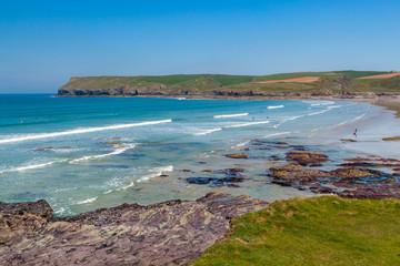 Fototapete - Polzeath Beach on the North Cornish coast, Cornwall England UK