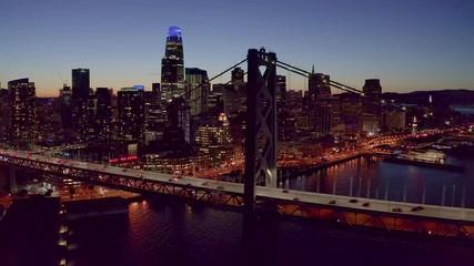 Fototapete - San Francisco downtown buildings skyline aerial evening sunset night