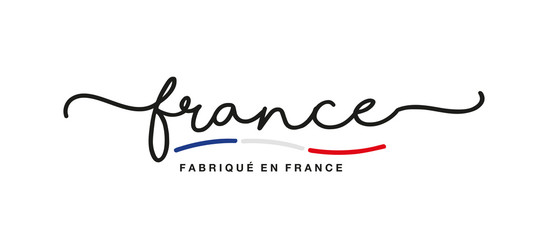 Made in France logo French language handwritten calligraphic lettering sticker flag ribbon banner Fotomurales
