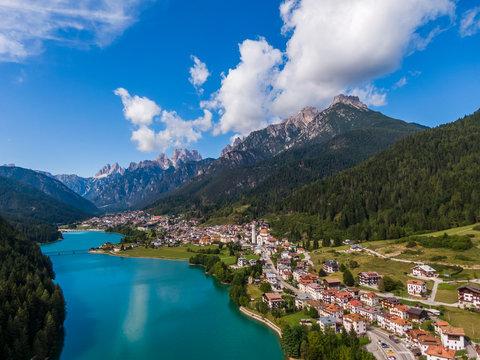 Aerial view of Santa Caterina lake and Auronzo di Cadore comune, Dolomites