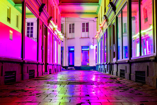 """Red Light District """"Glass Alley"""" in Ghent (Belgium)"""