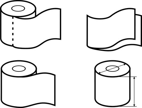 Toilet paper roll. Set of icons for packaging design
