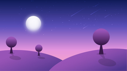 Pink abstract geometric landscape with trees, moon and starry sky. Vector illustration