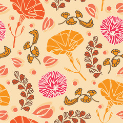 Mexican Petunia-Flowers in Bloom seamless repeat pattern in Red,orange,yellow. Vivid and fresh Petunia Flowers Pattern Background. Flowers surface pattern design, perfect for fabric, scrapbook, wallpa