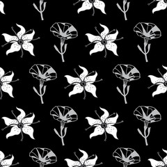Petunia and Lilly-Flowers in Bloom seamless repeat pattern in black and white. Graphic classic Petunia Flowers Pattern Background. Flowers surface pattern design, perfect for fabric, scrapbook, wallpa