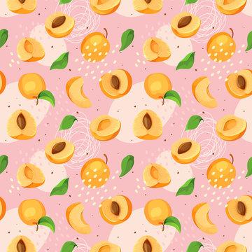 Modern hand drawn stylized apricot fruits background, seamless illustration.