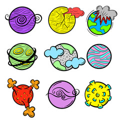 A Collection Icon Set of Imaginary Science Fiction Cartoon Planets and Worlds Illustration Line Art Vector