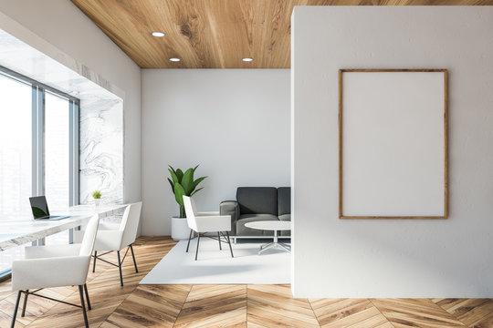 White and marble office lounge, vertical poster