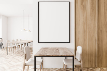 White and wooden cafe bar with poster