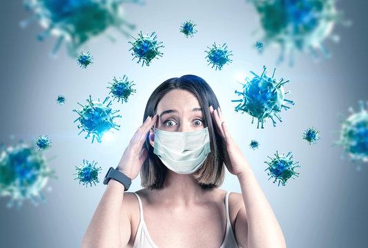 Scared young woman in mask, coronavirus panic