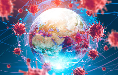 Ncov spreading concept, Earth and virus models
