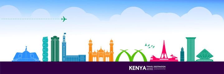 Fototapete - Kenya travel destination grand vector illustration.