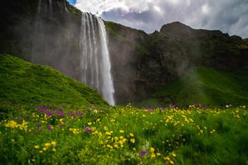 Seljalandsfoss Waterfall, tourist popular natural attraction in Iceland