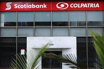Facade of Scotiabank Colpatria bank is seen in Bogota