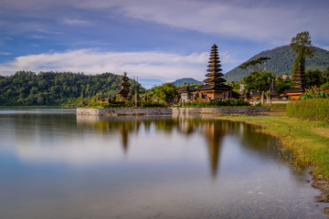Aluminium Prints Indonesia Ulun Danu Beratan Temple. Beautiful sunrise on the island of Bali, Indonesia