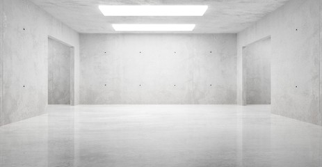 Abstract empty, modern concrete room with ceiling lights and shiny floor - industrial interior background template, 3D illustration Fototapete