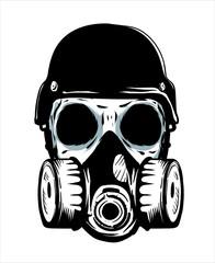 Skeleton Wearing Gas Mask Hand Drawn Inking Brush Style Vector Illustration