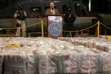 Michael Soto, Minister of Public Security, speaks to the media about the seizure cocaine during an operation in the Caribbean, at the air base of the Ministry of Security in Alajuela
