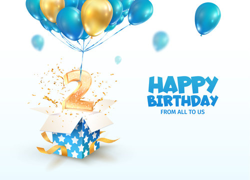 Celebrating of 2 th years birthday vector 3d illustration. Second anniversary celebration. Open gift box with explosions confetti and number two flying on balloons on light background