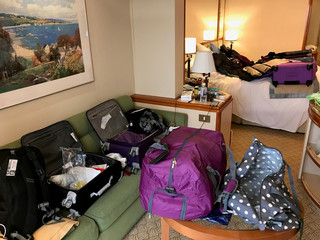 Packed suitcases and bags are seen on board the Diamond Princess cruise ship that is quarantined in Yokohama