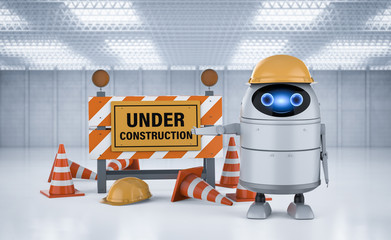 Android robot with under construction sign