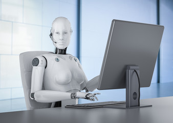 Female cyborg with computer