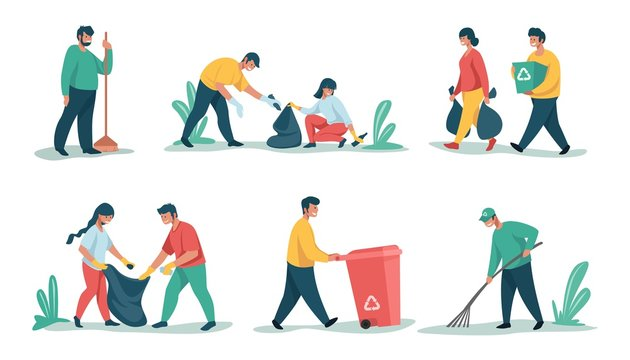 Cleaning garbage. Cartoon characters sorting and recycling waste and trash, collecting rubbish. Vector people picking up litter, nature outdoors cleaning for separation and recycled