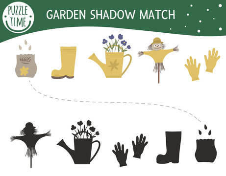Shadow matching activity for children with garden symbols. Preschool puzzle with gardening tools and equipment. Cute spring educational riddle. Find the correct silhouette game..