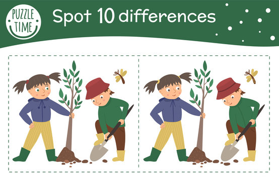 Spring find differences game for children. Garden preschool activity with girl and boy planting tree. Puzzle with cute funny smiling characters..